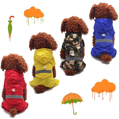 Pet Dog Puppy Cat Rain Coat Raincoat Waterproof Clothes Rainwear Hood Reflective