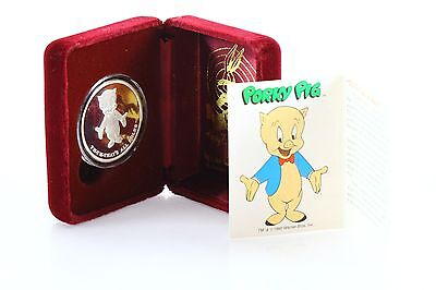 Rarities Mint 1990 Porky Pig That's All Foloks Silver Coin Happy Birthday Bugs