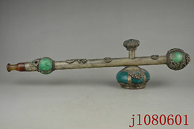 11.5 inch Collectible China Old Tibet Silver Jade Big Usable Big Smoking Pipe