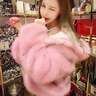 HOT Faux Fur Womens Short Coats Thicken Hooded Winter Warm Girl Jackets Y391