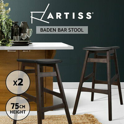 2x Rubber Wood Bar Stool Wooden Dining Chair Kitchen Side Padded Black 6028