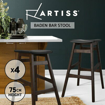 4x Rubber Wood Bar Stool Wooden Barstool Dining Chair Kitchen Padded Black 6028