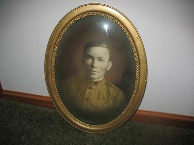 WWI Military United States Soldier Framed Bubble Convex Glass Gesso Oval ~33E16