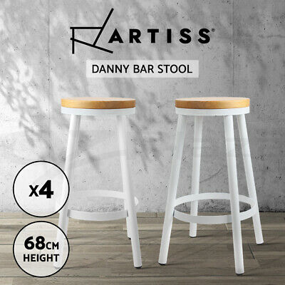 4x DANNY Industrial Bar Stool Stackable Modern Dining Chair Steel Wooden