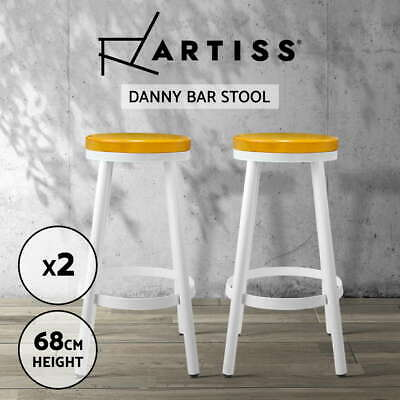 2x DANNY Industrial Bar Stool Stackable Barstool Dining Chair Steel Wooden