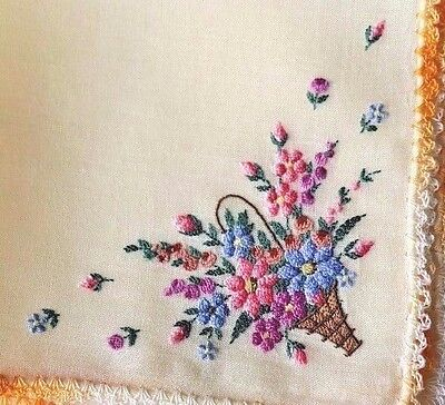 Vintage Swiss Hanky Hand Embroidered Basket of Flowers w/ Crochet Lace