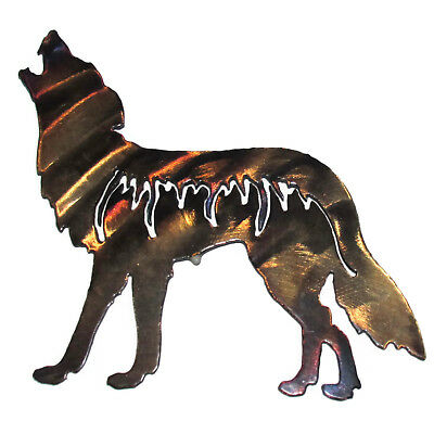 Howling Coyote Wolf Canine Hand Crafted Torched Metal Sculpture Wall Art Decor
