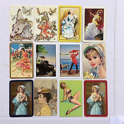 Mixed Lot of 12 X Vintage Swap / Playing Cards - Ladies & Fairies