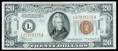1934 A $20 Dollar Bill Hawaii Issue Fen Brown Seal Note,~~