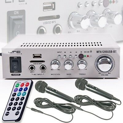 Stereo Karaoke Amplifier 100W USB MP3 Bluetooth SD Remote control 2x Microphone