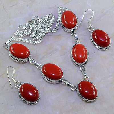 Free Shipping Red Coral Silver Earrings/necklace Set; K47494