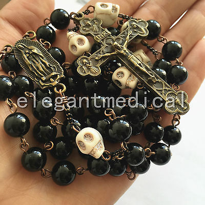 Howlite Skull Black Agate Bead VINTAGE ROSARY crucifix catholic necklace cross