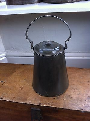 LARGE VINTAGE 4 PINT TINWARE MILK CAN 12 inches