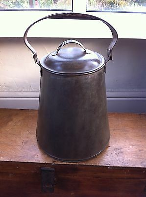 VERY LARGE ANTIQUE 12 PINT TINWARE MILK / DAIRY CAN 15.5 inches