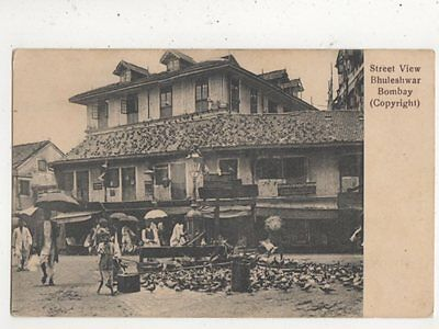 Street View Bhuleshwar Bombay India Vintage Postcard 854a