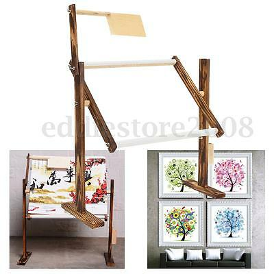 DIY Wooden Embroidery Frame Floor Stand Holder Tabletop Hoop Cross Stitch Crafts