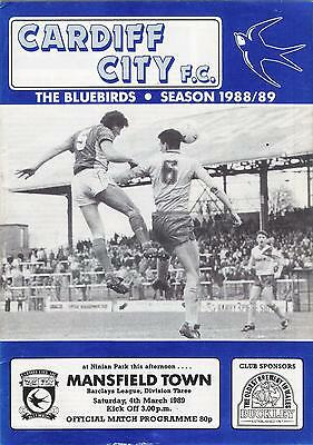 cardiff city v mansfield town football programme 04/03/89