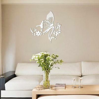 Fashion 3D Mirror Sticker Butterfly Flower Wall Stickers Decor Acrylic Mirror
