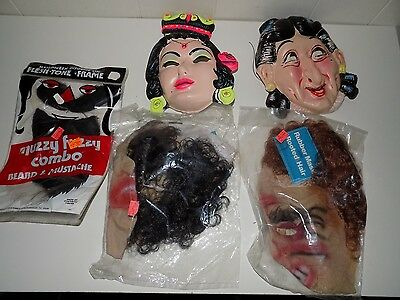 Lot Vintage Masks Collegeville Rooted Hair