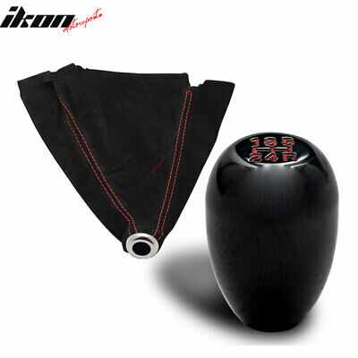 Black JDM 5-Speed Shift Knob + Red Stitch Suede Boot Cover Honda Acura