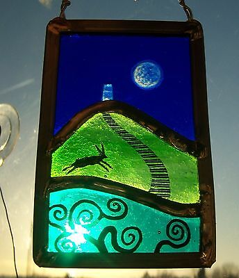 Glastonbury Tor Moon Stained Glass Leaded Painted Panel Hanger Suncatcher
