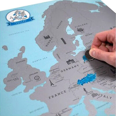 New Europe Map Scratch Off Poster Personalized Travel Vacation Personal Log