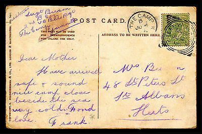 M23 Single Circle Handstamp The Camp Yarmouth Code B 4/07/1906 On PPC