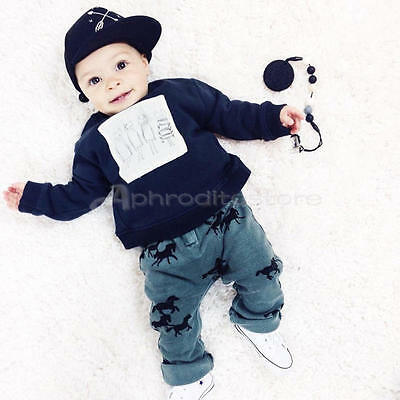 New Horse Newborn Toddler Baby Boys Clothes Navy T-shirt Tops Pants Outfits Sets