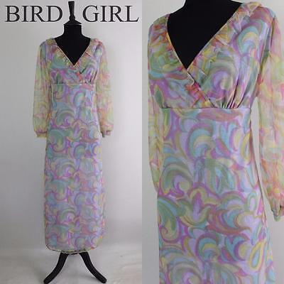 Frilly Neckline 1970S Vintage Blue Groovy Paint Swirl Print Night Dress 12-14  M