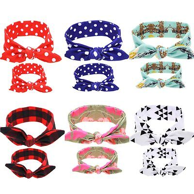 Mom Mother & Daughter Baby Girl Bow Knot Headband Hair Band Accessories 2PCS Set