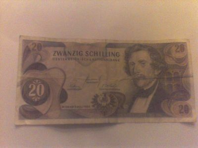Austria Banknote. 20 Shilling. Dated 1967