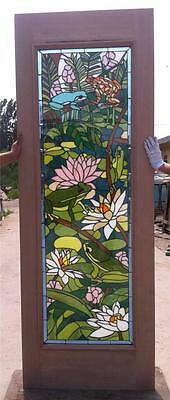 Custom Design Hand Made Mahogany Wood Stained Glass Frog Entry Door - Jh362