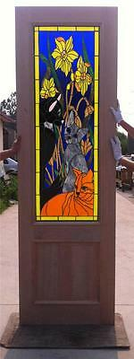 Custom Design Hand Made Mahogany Wood Stained Glass Church Entry Door - Jh365