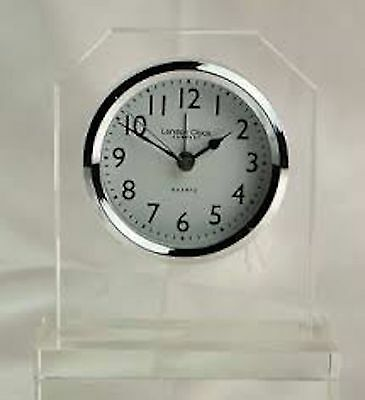 London Clock Clear Glass Pendulum Mantel Clock 13cm SALE RRP £38