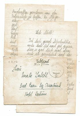 WW2 Germany Military Letter FELDPOST 1942 Cover to Osnabruck