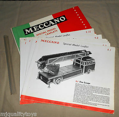 MECCANO SPECIAL MODEL LEAFLETS IN FOLDER FOR OUTFIT 9 No's 9.1 -9.10