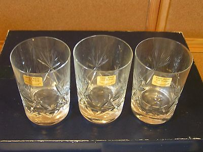 3 x Hand Made Cut Glass Whisky Glasses possibly vintage