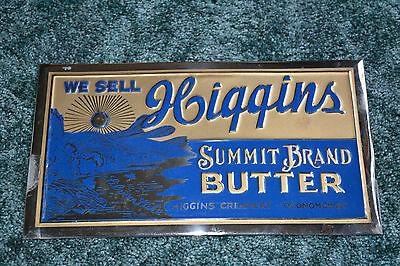 Vintage HIGGINS CREAMERY SUMMIT BRAND BUTTER Oconomowoc WI TOC Advertising Sign