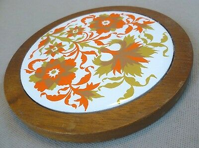 Vintage Retro Kitchenalia - Jersey Pottery Wooden/Ceramic Cheese Board - C1970s