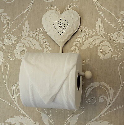 Cream heart design toilet roll holder bathroom loo vintage home accessories