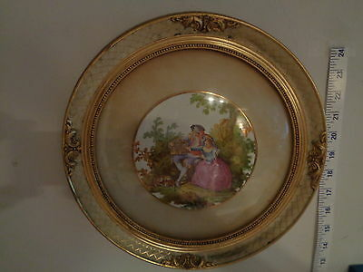 Vintage Round Colonial Couple Print signed by Oliver In Golden  Frame (12 inch)