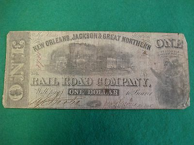 1861 $1 confederate Note New Orleans Jackson & Great Northern Railroad freepost