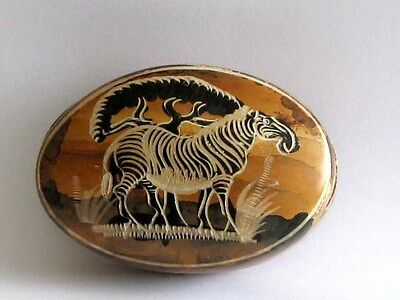 Vintage Zebra Marble-Type Stone Hand Painted Trinket Dish With Lid By Kissi