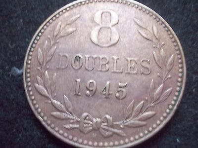 Guernsey 8 Doubles Coin Dated 1945 [#b168] Highly Collectible.