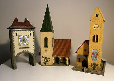 Faller 239 & B238 country village church x 2 plus Clock Archway HO OO scenery