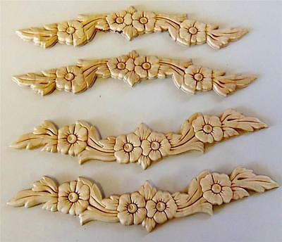 """LOT of 4 Onlays Appliques Birch Wood Embossed Gingerbread Flowers Leaves 9-3/4"""""""