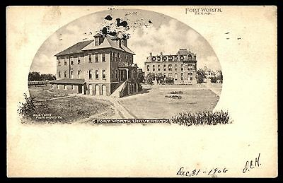 Fort Worth Texas University 1907 Picture Postcard Used