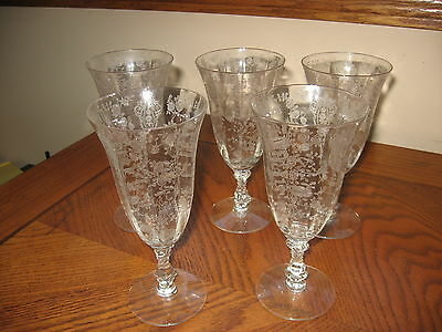 Set Of Five Elegant Cambridge Glass Rosepoint Etched Footed Tumbler 10 Ounce