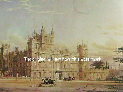 Highclere Castle Hampshire From The 1840 Re-Design Vintage Mounted Colour Print
