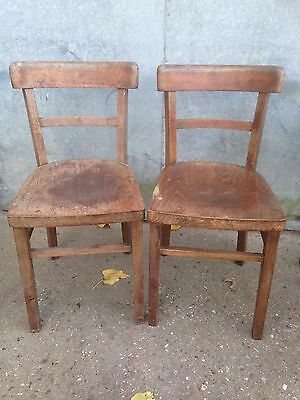 Vintage Retro Old Dining Kitchen Chairs x 2 50's 60's Wooden Seats